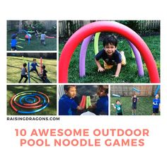 10 Outdoor Pool Noodle Games Raising Dragons These 10 pool noodle outdoor games for kids are super simple to set up and will entertain kids for hours! The post 10 Outdoor Pool Noodle Games Raising Dragons appeared first on Toddlers Diy. Pool Noodle Games, Noodles Games, Pool Games, Pool Noodles, Noodle Noodle, Pool Noodle Crafts, Kids Obstacle Course, Backyard Obstacle Course, Outdoor Games For Kids