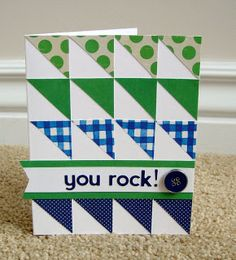 handmade quilt card ... luv the bright green and blue contrasting with the white space on the card ... triangles/diagonal cut squares ...