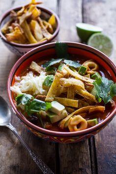 Cheesy Chicken Tortilla Tortellini Soup | halfbakedharvest.com @hbharvest