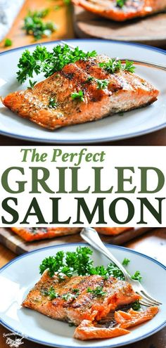 A Perfect 15-Minute Grilled Salmon recipe is an easy, healthy dinner idea! Salmon Recipes | Seafood Recipes | Healthy Dinner Recipes | Fish Recipes #TheSeasonedMom #salmon #fish #healthydinner #healthy