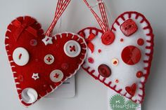 Heart Hangers Red and White