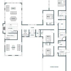 Floor Plan Friday: H-shaped smart home with two separate and distinct wings