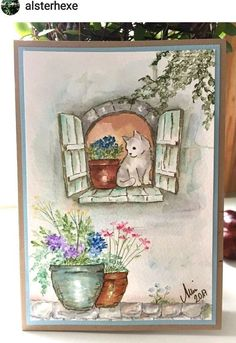 Tuscan Window Retired Uget Photo L Art Impressions Rubber Stamps Watercolor Sketch, Watercolor Cards, Watercolor Paintings, Watercolours, Art Impressions Stamps, Cat Cards, Painted Rocks, Painting & Drawing, Cardmaking