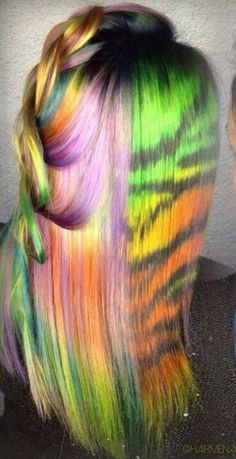 Rainbow dyed hair color inspiration @hairmenageries