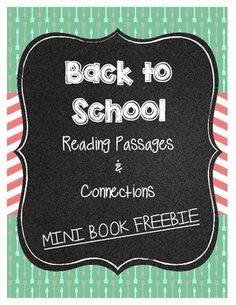 **Check out these BACK TO SCHOOL READING PASSAGES!!!**Click here for a Back To School Reading PassagesDuring the first week of school we tend to read lots of back to school books to our students. This is a great way to integrate reading skills into back-to-school reading.