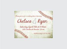 Baseball Wedding Shower Invitation Baseball by CrowningDetails
