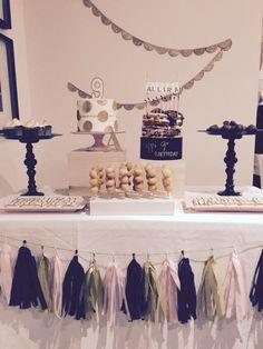 Blush, gold and black desert table.