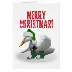 Ducky Elf Christmas Card by #gravityx9 #i_love_xmas #Zazzle -