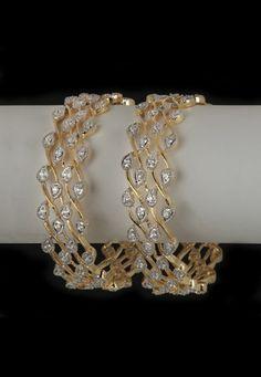 Utsav Fashion : white-and-golden-american-diamond-studded-bangles