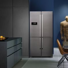 The cool gunmetal features smart LED touch controls, gunmetal trim interior and four large capacity compartments, one of which can be used as a fridge or a freezer – the perfect combination of style and substance. Door Storage, Storage Rack, Locker Storage, Wine Cabinets, Grey Cabinets, Top Freezer Refrigerator, French Door Refrigerator, Freestanding Fridge, Flow Design