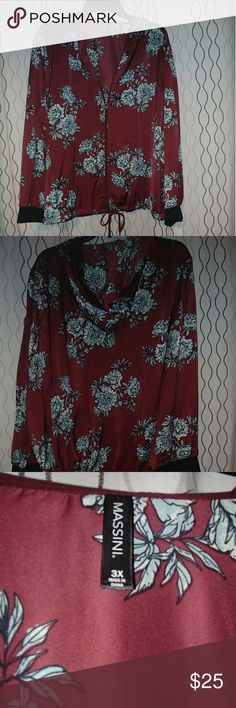 Massini by Stacy London zip up jacket This beautiful light weight jacket is brand new. It is burgundy with blue flowers. This would make a great addition to anyone's closet. Massini Jackets & Coats Blazers