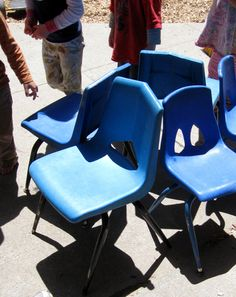 "In this variation on musical chairs, no one gets kicked ""out"" of the game -- instead, they get to tell other kids what to do!"