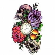 Tatouage-temporaire-crâne-rose-et-montre