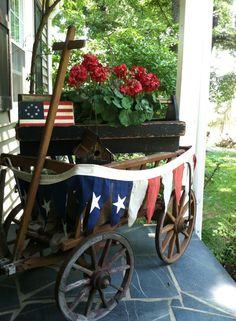 Old Wagon.with patriotic bunting + American Flag + Red Geraniums + Porch of July Ideas. Fourth Of July Decor, 4th Of July Decorations, July 4th, Holiday Decorations, Seasonal Decor, Americana Decorations, Outdoor Decorations, Patriotic Bunting, Patriotic Crafts