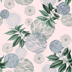 Retro Pink Foliage by Ani Chanchanian Seamless Repeat  Royalty-Free Stock Pattern