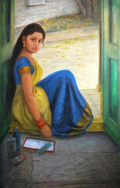 Artist Vishalandra Dakur's Girl Dressing Up Painting Online. Blue oil Painting by Vishalandra Dakur on Canvas, Figurative based on theme Vishalandra Dakur. Sexy Painting, Woman Painting, Figure Painting, Indian Women Painting, Indian Art Paintings, Oil Paintings, Indian Drawing, India Art, Girls Dress Up