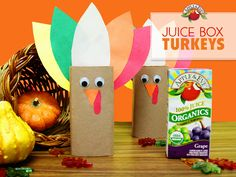 Gobble, Gobble! From plays to parades —Add some feathers to create these adorable Thanksgiving turkey juice boxes.
