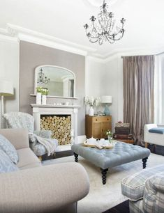 A more formal take on the modern country home. Particularly like this muted colo...