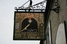 Hanging sign of the pub 'Ye Old Star' in Kilham,East Riding of Yorkshire.