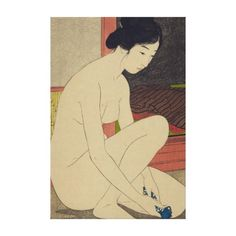 Vintage Art Image of Japanese Woman After Bath on premium wrapped canvas #vintage #japan #japanese #art Elegant Vintage Japanese Art for your Home, Office, or Business