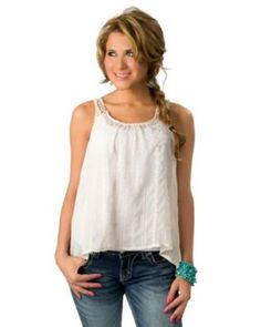 Vintage Havana® Women's Ivory Crochet Sheer Sleeveless Fashion Top
