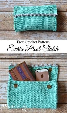 FREE Crochet Crochet - Everia Picot Clutch Crochet Pattern | This beginner-friendly clutch is made of ONE stitch, and so cute when completed.