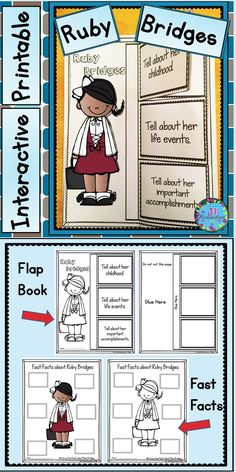 This product includes two ways for your children to share what they have learned about Ruby Bridges in writing using an interactive printable and fast facts printable.  TAKE A PREVIEW PEEK! Ruby Bridges Interactive Writing Printable (color and black and white) Ruby Bridges Fast Facts (color and black and white)
