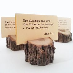 Really pretty place card holders for outdoor dinner party or wedding, etc. Might be able to get my boss to do something like this and mail it over. Lodge Wedding, Diy Wedding, Rustic Wedding, Wedding Ideas, Woodland Wedding, Wedding Album, Fall Wedding, Dream Wedding, Picture Holders