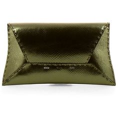 VBH Manila Karung Clutch Bag ($1,195) ❤ liked on Polyvore featuring bags, handbags, clutches, evening purses, snakeskin purse, studded envelope clutch, envelope clutch and brown handbags