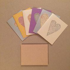 Heart Card Valentine Set 6 Handmade Paper by deadcatcreations