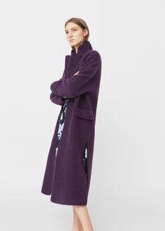 Textured wool-blend coat - f foCoats Woman | MANGO Canada