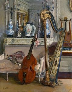Who can beat a painting with a harp, cello, lyre, piano, and bagpipes. Music Painting, Art Music, Maurice, Sound Of Music, Cello, Beautiful Paintings, Classical Music, Love Art, Sculpture