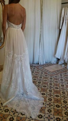 Open back Vintage lace wedding dress | long train | by FLORA