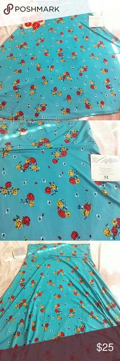 """NWT LuLaRoe Skirt- size M Turquoise colored slinky skirt with yellow and red floral design. 25"""" long. NWT and cute!! Necklace also available. LuLaRoe Skirts Midi"""