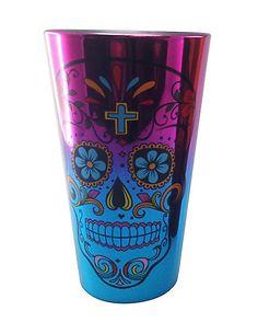 Day of the Dead Metallic Pint Glass - Spirithalloween.com