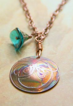 Last One  Etched Copper Domed Disk Pendant by AllowingArtDesigns, $22.00