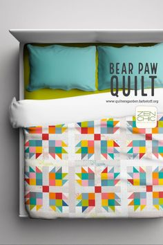 Sew your own Bear Paw Quilt with solid scraps and low volumes from the collection Modern Backgrounds COLORBOX by Zen Chic for Moda. Deutsche Nähanleitung zum Download