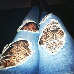 Lace stockings under jeans:)
