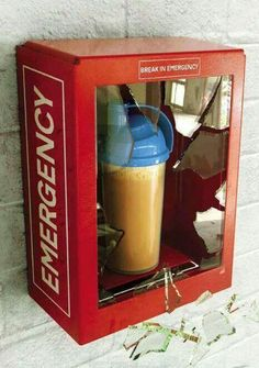 Gym humor.......protein shake for emergencies