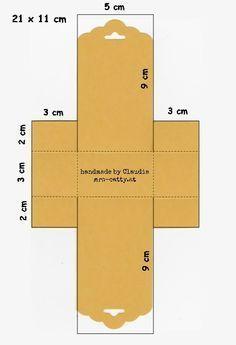 template for a paper box using Stampin' Up! tag top punch ... Anleitung für die Küsschen-Verpackung