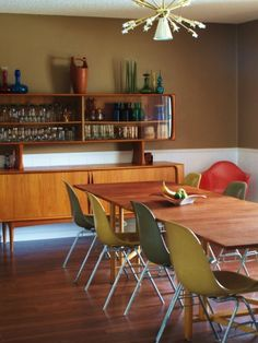 Natural light in a danish modern mid century dining room