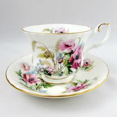 Royal Albert Country Life Series Tea Cup and Saucer, Vintage Bone China