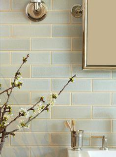 love the tonal blue glass tile