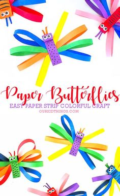 Colorful Paper Strip Butterflies Our Kid Things - Butterflies And Colorful Just Go Together Like Our Colorful Paper Strip Butterflies We Also Really Love Our Accordion Fold Butterflies These Smiley Face Butterflies And Our Leaf Clover Butterfli Spring Crafts For Kids, Paper Crafts For Kids, Crafts For Kids To Make, Summer Crafts, Crafts For Teens, Art For Kids, Beach Crafts, Our Kids, Daycare Crafts