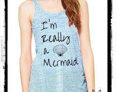 I'm really a mermaid Cursive Bella shirt Ladies Heathered Tank Top Shirt silkscreen screenprint