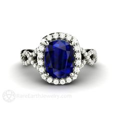 Rare Earth Jewelry Blue Sapphire Engagement Ring Cushion Cut Infinity with Diamond Halo