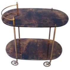 Mid Century Aldo Tura Tortoise Colored Goatskin Bar Cart thumbnail 1