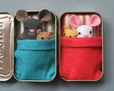 """Oh god oh god oh god it's so cute. """"Wee Mouse Tin House"""" pattern by Larissa Holland (mmmcrafts on Etsy)"""
