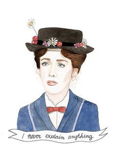 {Practically} Perfect in Every Way Mary Poppins Hat, Julie Andrews, Disney Love, Disney Art, Watercolor Portraits, Watercolor Print, Etsy, Portrait Illustration, Disney Films