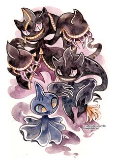 I was super thrilled to paint this as banette happens to be one of my all time favorite pokemon too! Banette Pokemon, Gif Pokemon, Ghost Pokemon, Pokemon Eeveelutions, Pokemon Fan Art, Pokemon Team, Pokemon Stuff, Pokemon Fantasma, Ghost Type